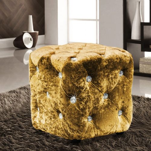 GOLD LUXURY CRUSHED VELVET DIAMANTE FOOT STOOL CUSHION CUBE POUFFE DESIGNER FURNITURE